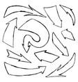 set hand-drawn doodle black arrows on vector image vector image