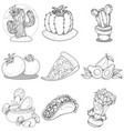 set icons on a mexican theme mexican food and vector image vector image