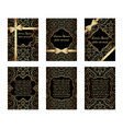 set of gold greeting cards vector image vector image