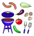 set of icons of barbecue of the grill sausage vector image
