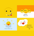 smile day banner set flat style vector image vector image
