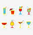 stickers set with alcohol cocktails flat cartoon vector image vector image