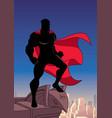 superhero watching city silhouette vector image vector image