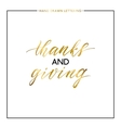 Thanks and Giving gold text isolated on white vector image vector image