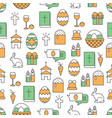 thin line art easter seamless pattern vector image vector image