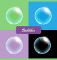 transparent soap bubbles on different colors vector image vector image