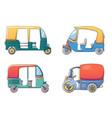 tuk rickshaw thailand icons set cartoon style vector image