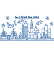 usa california san diego winter city skyline vector image vector image