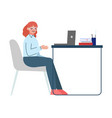 woman sitting at table and working on the vector image vector image