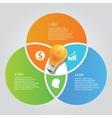 three 3 circle info graphic chart overlap bulb vector image
