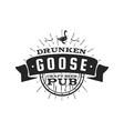 vintage craft beer pub label drunken goose vector image