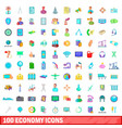 100 economy icons set cartoon style vector image vector image