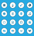 audio colorful icons set collection of tambourine vector image