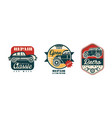 auto service and repair badges with retro car vector image
