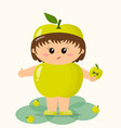 baby in the suit of a green apple vector image