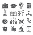 back to school icons monochrome school symbols vector image vector image