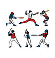baseball player color set collection pack vector image