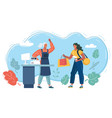 cashier and buyer in store vector image vector image