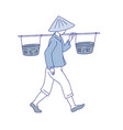 chinese farmer carries basket on his shoulder man vector image vector image