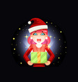 christmas female cute woman cartoon surprised girl vector image vector image