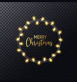 christmas lights wreath with hand lettering merry vector image vector image