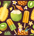 cocktail and exotic fruits seamless pattern vector image vector image