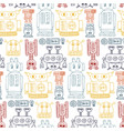 Colorful seamless pattern with retro robots