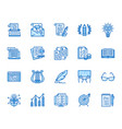 copywriting flat line icons set writer typing vector image