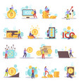cryptocurrency flat icons set vector image vector image