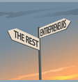 entrepreneurs and the rest indication sign vector image vector image