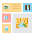 flat icon frame set of clean flowerpot curtain vector image vector image