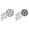 flying soccer ball line and glyph icon game and vector image vector image