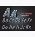 halloween zombie font raggy alphabet in horror vector image