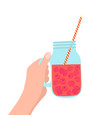 hand holding mason jar with raspberry vector image vector image