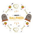 happy halloween ball bone grave frame image vector image