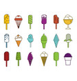 icecream icon set color outline style vector image