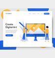 landing page template creating digital art vector image vector image