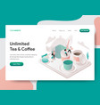 landing page template free tea and coffee vector image