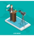Live news flat isometric concept vector image
