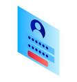 login window icon isometric style vector image