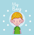 my cute boy cartoon vector image vector image