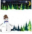 Night winter woodland scene with cute snowman vector image vector image