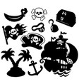 pirate silhouettes collection vector image