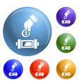 put economy money coin icons set vector image