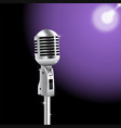 retro microphone on spotlight background 2 vector image vector image