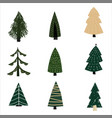 set christmas forest tree fir-tree icon simple vector image vector image