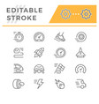 set editable stroke line icons speed vector image vector image