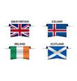 set four british icelandic irish and scottish flag vector image vector image