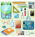 set school accessories vector image vector image
