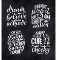 set with funny hand drawn lettering compositions vector image vector image